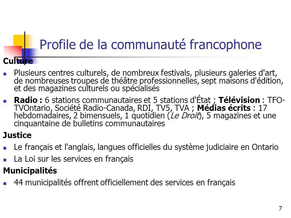 8 Profile des minorités raciales francophones (SOURCE: Office des affaires francophones, 2006; www.ofa.gov.on.ca) 59 000 francophones (10 % de la population francophone) de MR en Ontario ; une augmentation de plus de 40 % entre 1996 et 2001 1 francophone sur 3 dans la région de Toronto (33 %) ; 15 % à Ottawa et Hamilton Proportion de jeunes de moins de 20 ans y est deux fois plus élevée (39 % vs 19 %) Entre 1996 et 2001, plus de 3 sur 5 francophones de MR sont venus d un autre pays (63 %) et 1 sur 3, du Québec (33 %) Trois quarts des MR francophones résidant en Ontario sont nées à l extérieur du Canada ; 32 % proviennent de l Afrique, 31 % de l Asie et 18 % du Moyen-Orient Le niveau de scolarité des MR francophones est nettement plus élevé que celui des francophones : la proportion détenant un diplôme universitaire est deux fois plus élevée que la population francophone générale (32 % comparé à 15 %) En dépit d un niveau de scolarité plus élevé, le revenu d emploi des MR francophones est plus faible que celui des francophones dans la population générale