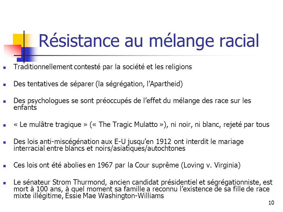 10 Résistance au mélange racial Traditionnellement contesté par la société et les religions Des tentatives de séparer (la ségrégation, lApartheid) Des psychologues se sont préoccupés de leffet du mélange des race sur les enfants « Le mulâtre tragique » (« The Tragic Mulatto »), ni noir, ni blanc, rejeté par tous Des lois anti-miscégénation aux E-U jusquen 1912 ont interdit le mariage interracial entre blancs et noirs/asiatiques/autochtones Ces lois ont été abolies en 1967 par la Cour suprême (Loving v.