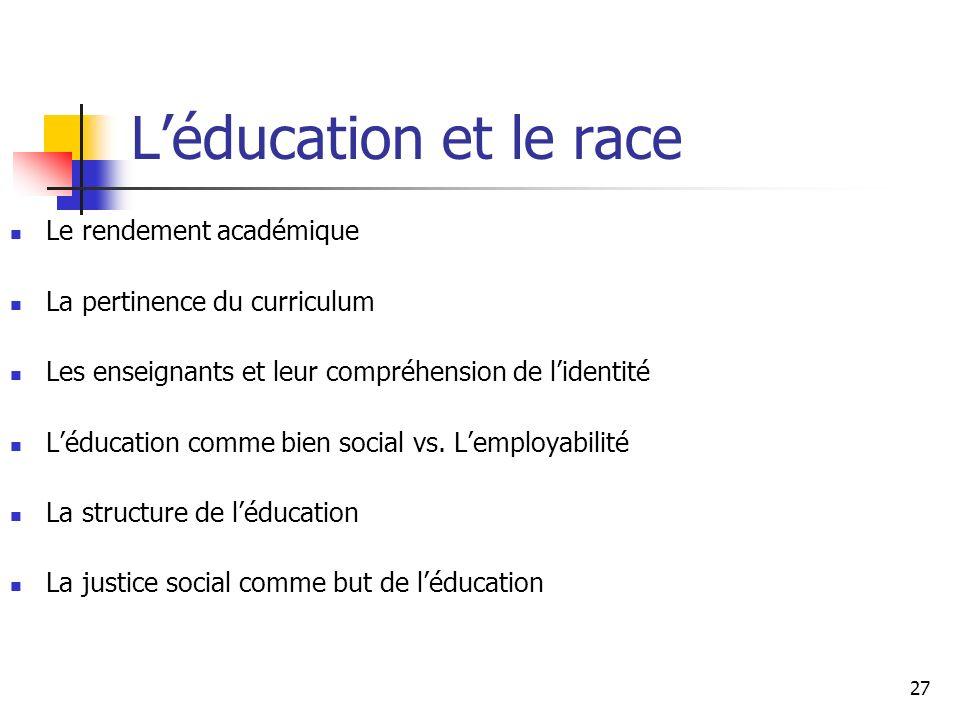 27 Léducation et le race Le rendement académique La pertinence du curriculum Les enseignants et leur compréhension de lidentité Léducation comme bien social vs.