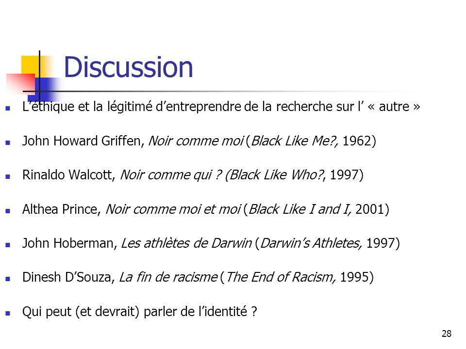 28 Discussion Léthique et la légitimé dentreprendre de la recherche sur l « autre » John Howard Griffen, Noir comme moi (Black Like Me , 1962) Rinaldo Walcott, Noir comme qui .