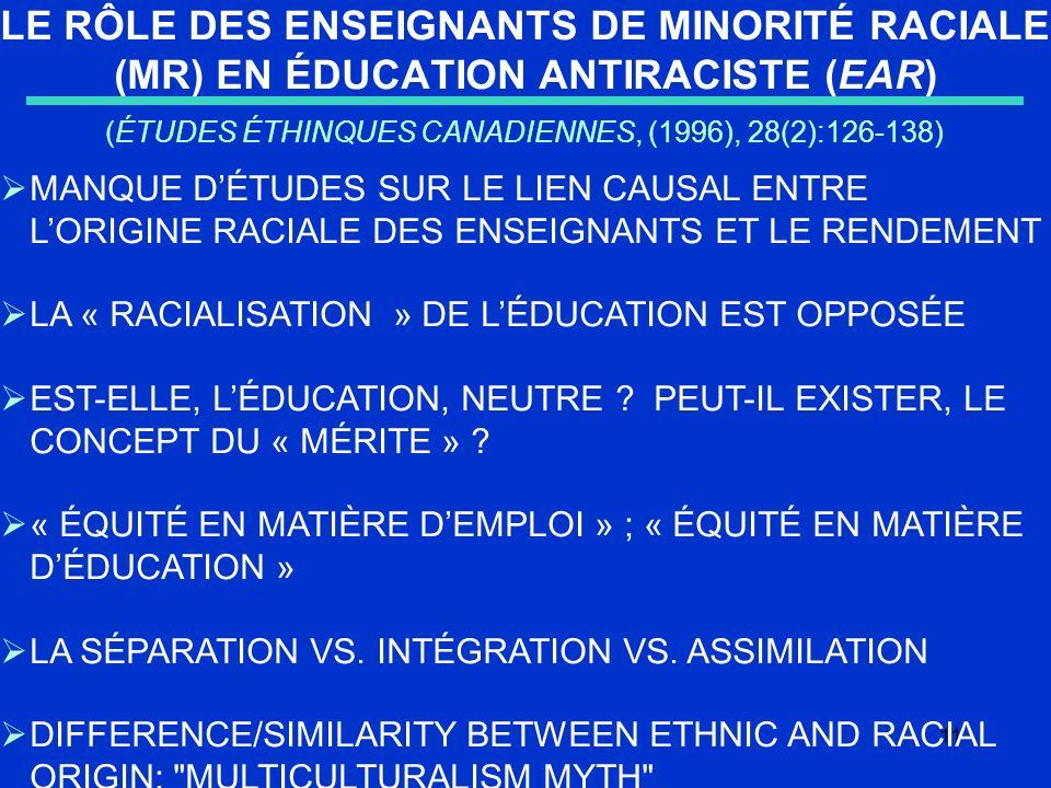 11 LE RÔLE DES ENSEIGNANTS DE MINORITÉ RACIALE (MR) EN ÉDUCATION ANTIRACISTE (EAR) (ÉTUDES ÉTHINQUES CANADIENNES, (1996), 28(2):126-138) MANQUE DÉTUDES SUR LE LIEN CAUSAL ENTRE LORIGINE RACIALE DES ENSEIGNANTS ET LE RENDEMENT LA « RACIALISATION » DE LÉDUCATION EST OPPOSÉE EST-ELLE, LÉDUCATION, NEUTRE .