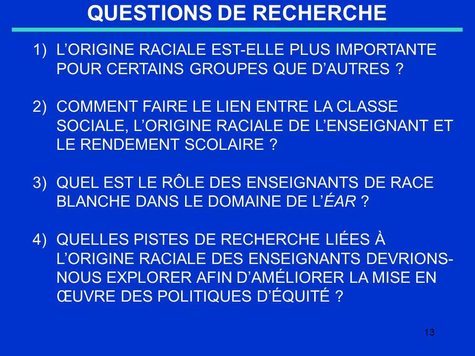 13 QUESTIONS DE RECHERCHE 1)LORIGINE RACIALE EST-ELLE PLUS IMPORTANTE POUR CERTAINS GROUPES QUE DAUTRES .