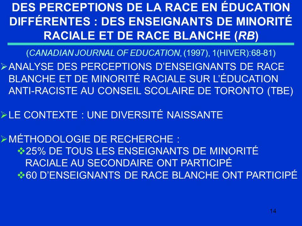 14 DES PERCEPTIONS DE LA RACE EN ÉDUCATION DIFFÉRENTES : DES ENSEIGNANTS DE MINORITÉ RACIALE ET DE RACE BLANCHE (RB) (CANADIAN JOURNAL OF EDUCATION, (1997), 1(HIVER):68-81) ANALYSE DES PERCEPTIONS DENSEIGNANTS DE RACE BLANCHE ET DE MINORITÉ RACIALE SUR LÉDUCATION ANTI-RACISTE AU CONSEIL SCOLAIRE DE TORONTO (TBE) LE CONTEXTE : UNE DIVERSITÉ NAISSANTE MÉTHODOLOGIE DE RECHERCHE : 25% DE TOUS LES ENSEIGNANTS DE MINORITÉ RACIALE AU SECONDAIRE ONT PARTICIPÉ 60 DENSEIGNANTS DE RACE BLANCHE ONT PARTICIPÉ