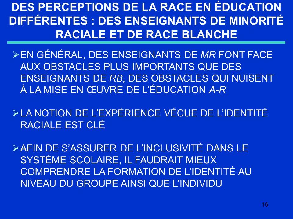 16 DES PERCEPTIONS DE LA RACE EN ÉDUCATION DIFFÉRENTES : DES ENSEIGNANTS DE MINORITÉ RACIALE ET DE RACE BLANCHE EN GÉNÉRAL, DES ENSEIGNANTS DE MR FONT FACE AUX OBSTACLES PLUS IMPORTANTS QUE DES ENSEIGNANTS DE RB, DES OBSTACLES QUI NUISENT À LA MISE EN ŒUVRE DE LÉDUCATION A-R LA NOTION DE LEXPÉRIENCE VÉCUE DE LIDENTITÉ RACIALE EST CLÉ AFIN DE SASSURER DE LINCLUSIVITÉ DANS LE SYSTÈME SCOLAIRE, IL FAUDRAIT MIEUX COMPRENDRE LA FORMATION DE LIDENTITÉ AU NIVEAU DU GROUPE AINSI QUE LINDIVIDU