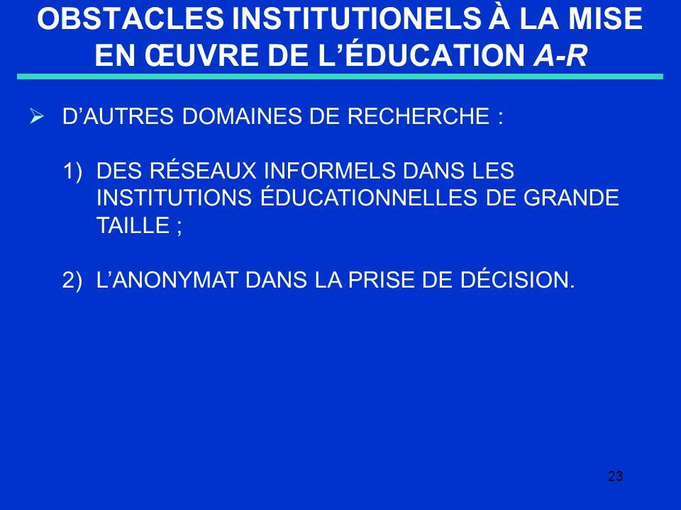 23 OBSTACLES INSTITUTIONELS À LA MISE EN ŒUVRE DE LÉDUCATION A-R DAUTRES DOMAINES DE RECHERCHE : 1)DES RÉSEAUX INFORMELS DANS LES INSTITUTIONS ÉDUCATIONNELLES DE GRANDE TAILLE ; 2) LANONYMAT DANS LA PRISE DE DÉCISION.