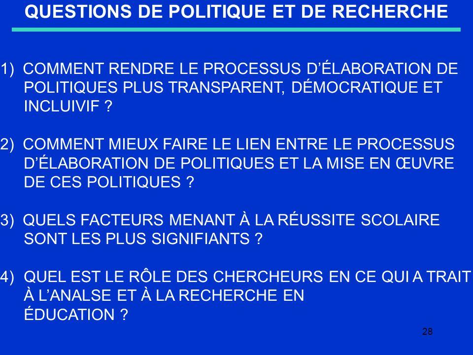 28 QUESTIONS DE POLITIQUE ET DE RECHERCHE 1) COMMENT RENDRE LE PROCESSUS DÉLABORATION DE POLITIQUES PLUS TRANSPARENT, DÉMOCRATIQUE ET INCLUIVIF .