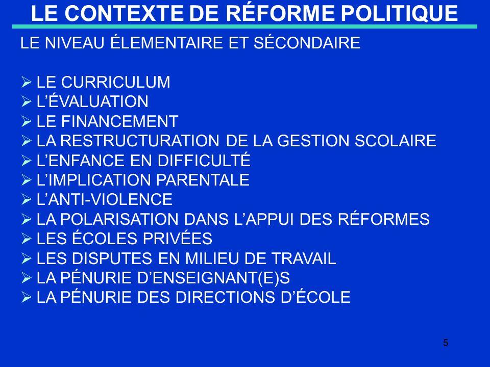 5 LE CONTEXTE DE RÉFORME POLITIQUE LE NIVEAU ÉLEMENTAIRE ET SÉCONDAIRE LE CURRICULUM LÉVALUATION LE FINANCEMENT LA RESTRUCTURATION DE LA GESTION SCOLAIRE LENFANCE EN DIFFICULTÉ LIMPLICATION PARENTALE LANTI-VIOLENCE LA POLARISATION DANS LAPPUI DES RÉFORMES LES ÉCOLES PRIVÉES LES DISPUTES EN MILIEU DE TRAVAIL LA PÉNURIE DENSEIGNANT(E)S LA PÉNURIE DES DIRECTIONS DÉCOLE