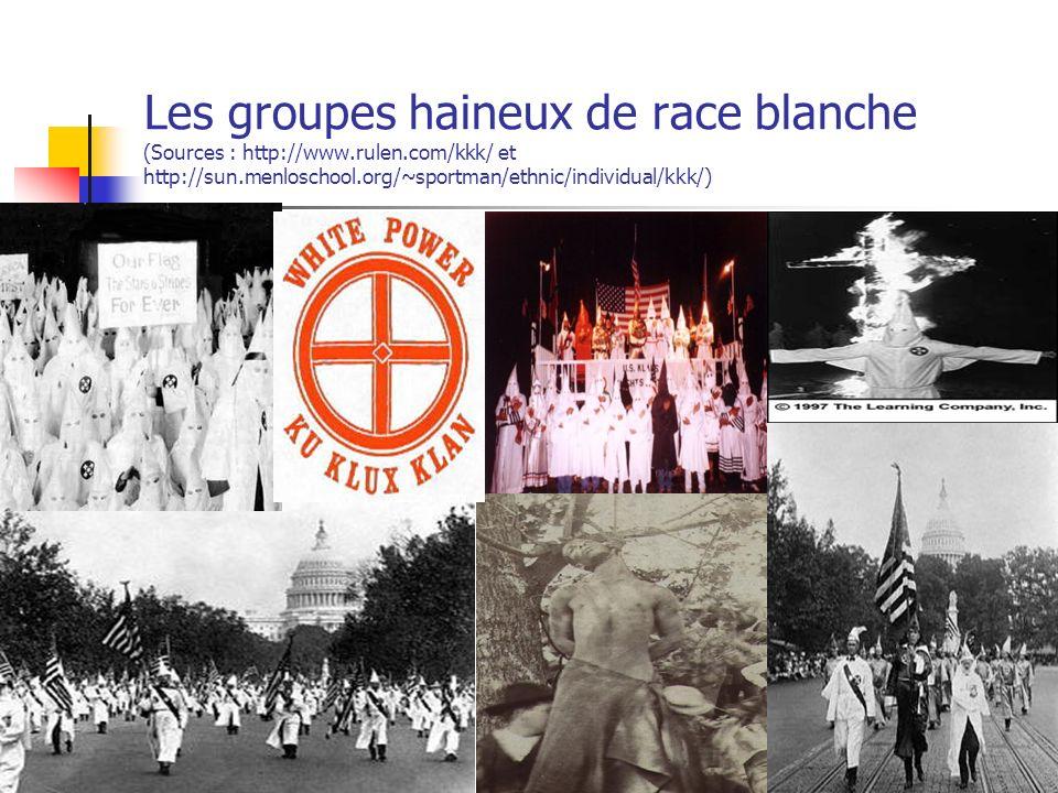 Les groupes haineux de race blanche (Sources : http://www.rulen.com/kkk/ et http://sun.menloschool.org/~sportman/ethnic/individual/kkk/) 23