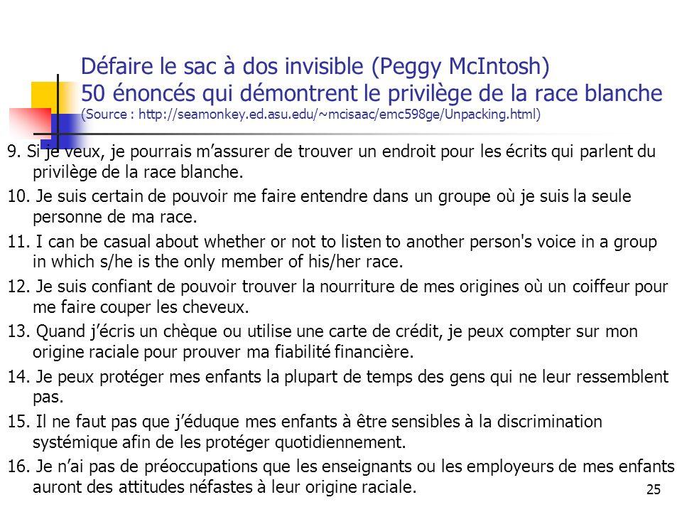 Défaire le sac à dos invisible (Peggy McIntosh) 50 énoncés qui démontrent le privilège de la race blanche (Source : http://seamonkey.ed.asu.edu/~mcisaac/emc598ge/Unpacking.html) 9.