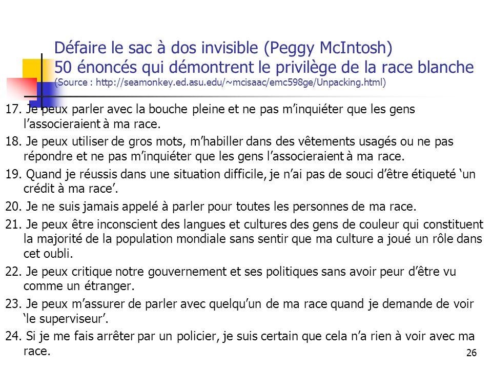 Défaire le sac à dos invisible (Peggy McIntosh) 50 énoncés qui démontrent le privilège de la race blanche (Source : http://seamonkey.ed.asu.edu/~mcisaac/emc598ge/Unpacking.html) 17.