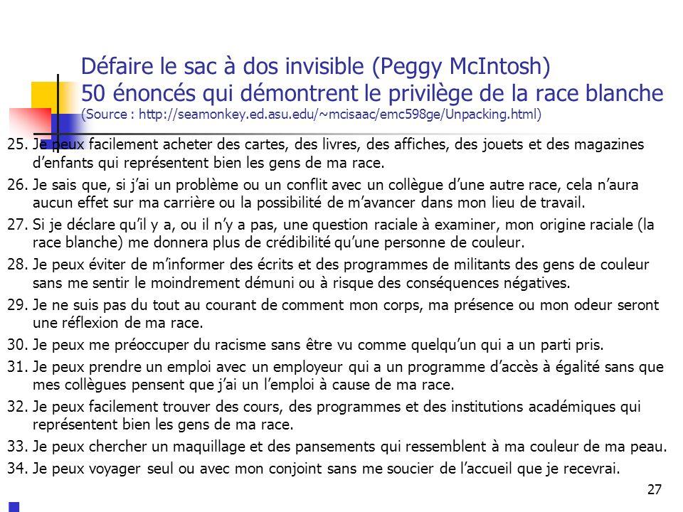 Défaire le sac à dos invisible (Peggy McIntosh) 50 énoncés qui démontrent le privilège de la race blanche (Source : http://seamonkey.ed.asu.edu/~mcisaac/emc598ge/Unpacking.html) 25.