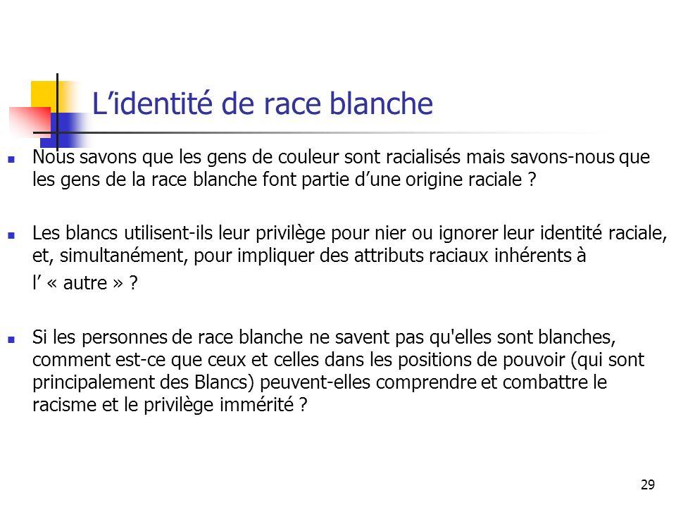 29 Lidentité de race blanche Nous savons que les gens de couleur sont racialisés mais savons-nous que les gens de la race blanche font partie dune origine raciale .