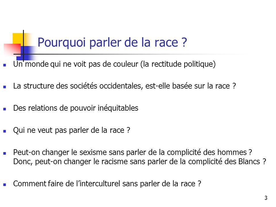 Pourquoi parler de la race .