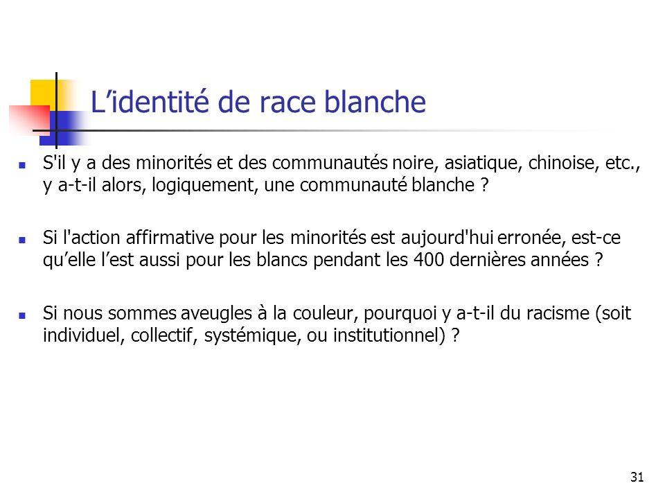 Lidentité de race blanche S il y a des minorités et des communautés noire, asiatique, chinoise, etc., y a-t-il alors, logiquement, une communauté blanche .