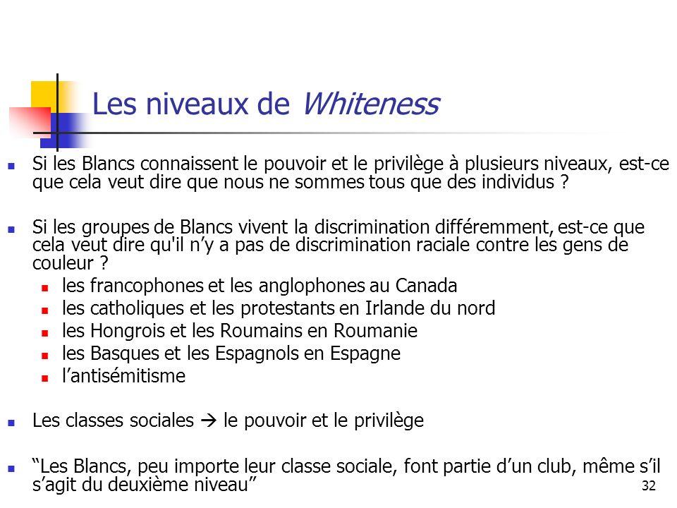32 Les niveaux de Whiteness Si les Blancs connaissent le pouvoir et le privilège à plusieurs niveaux, est-ce que cela veut dire que nous ne sommes tous que des individus .