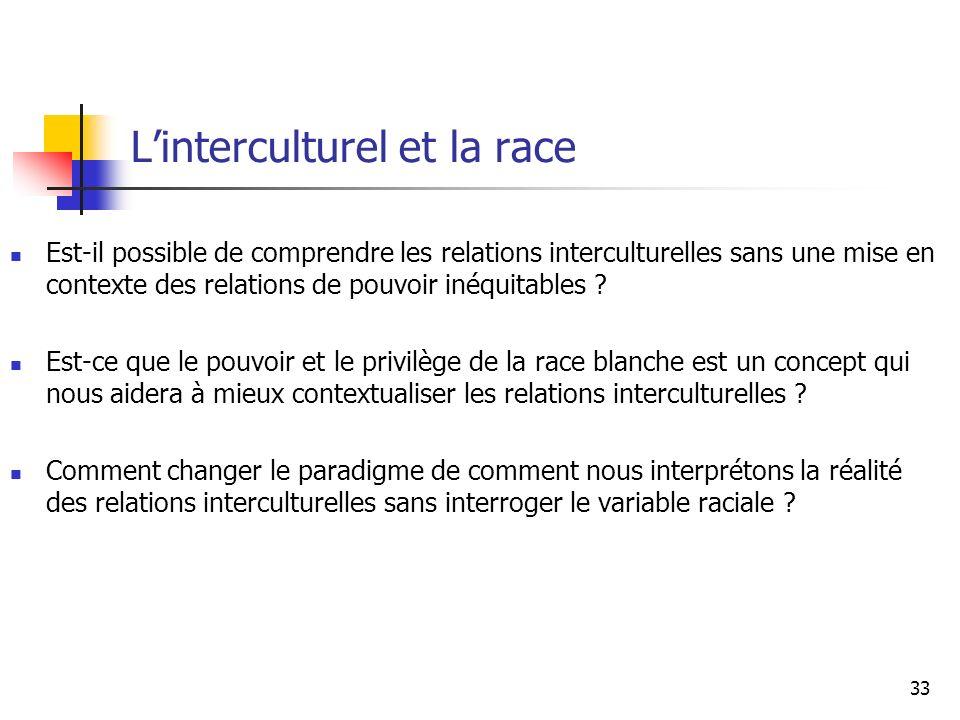 Linterculturel et la race Est-il possible de comprendre les relations interculturelles sans une mise en contexte des relations de pouvoir inéquitables .