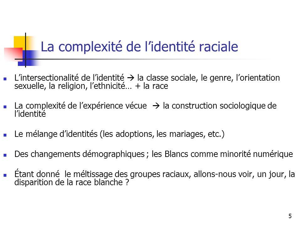 5 La complexité de lidentité raciale Lintersectionalité de lidentité la classe sociale, le genre, lorientation sexuelle, la religion, lethnicité… + la race La complexité de lexpérience vécue la construction sociologique de lidentité Le mélange didentités (les adoptions, les mariages, etc.) Des changements démographiques ; les Blancs comme minorité numérique Étant donné le méltissage des groupes raciaux, allons-nous voir, un jour, la disparition de la race blanche