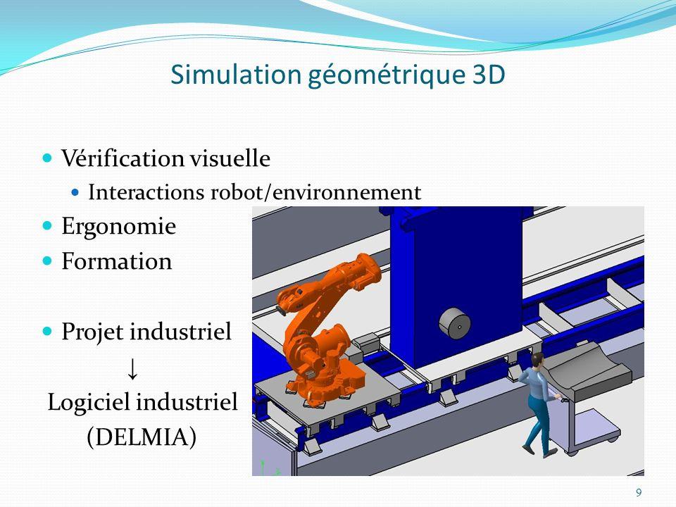Simulation géométrique 3D DELMIA permet des simulations très complexes combinant robots et mannequins humains Principal désavantage : simulations compliquées à modifier Incompatible avec plusieurs scénarios très différents Chaque scénario nécessite sa propre simulation Enorme consommation de temps Deux solutions Décomposition des simulations Paramétrage des simulations 10
