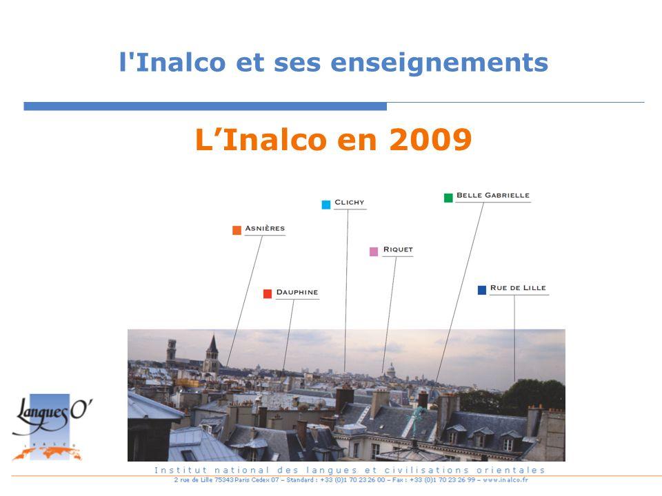 l'Inalco et ses enseignements LInalco en 2009