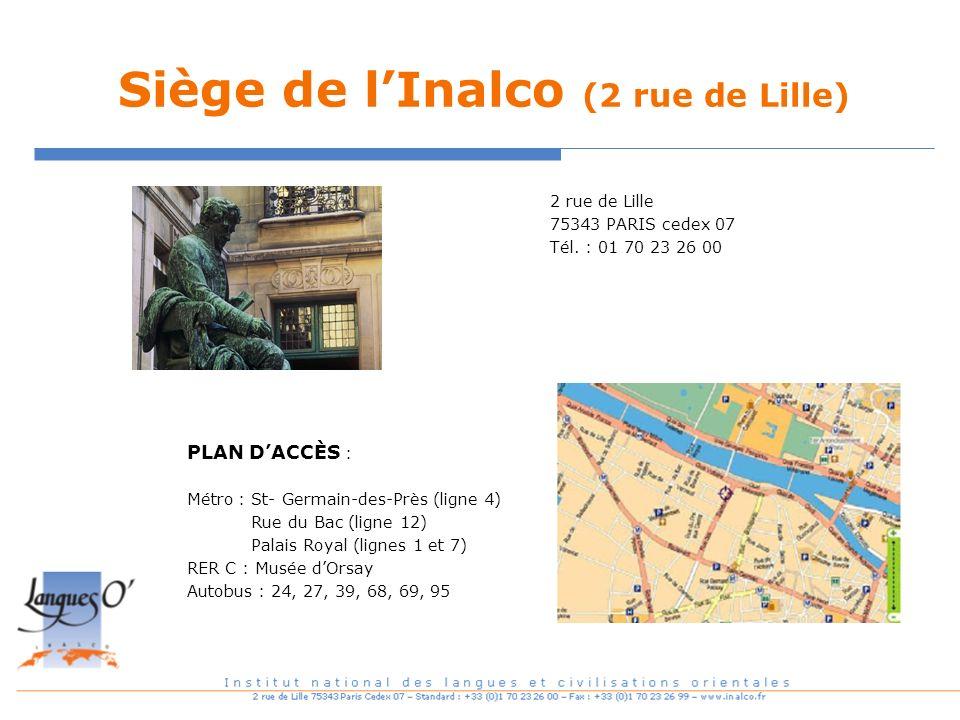 Siège de lInalco (2 rue de Lille) PLAN DACCÈS : Métro : St- Germain-des-Près (ligne 4) Rue du Bac (ligne 12) Palais Royal (lignes 1 et 7) RER C : Musé