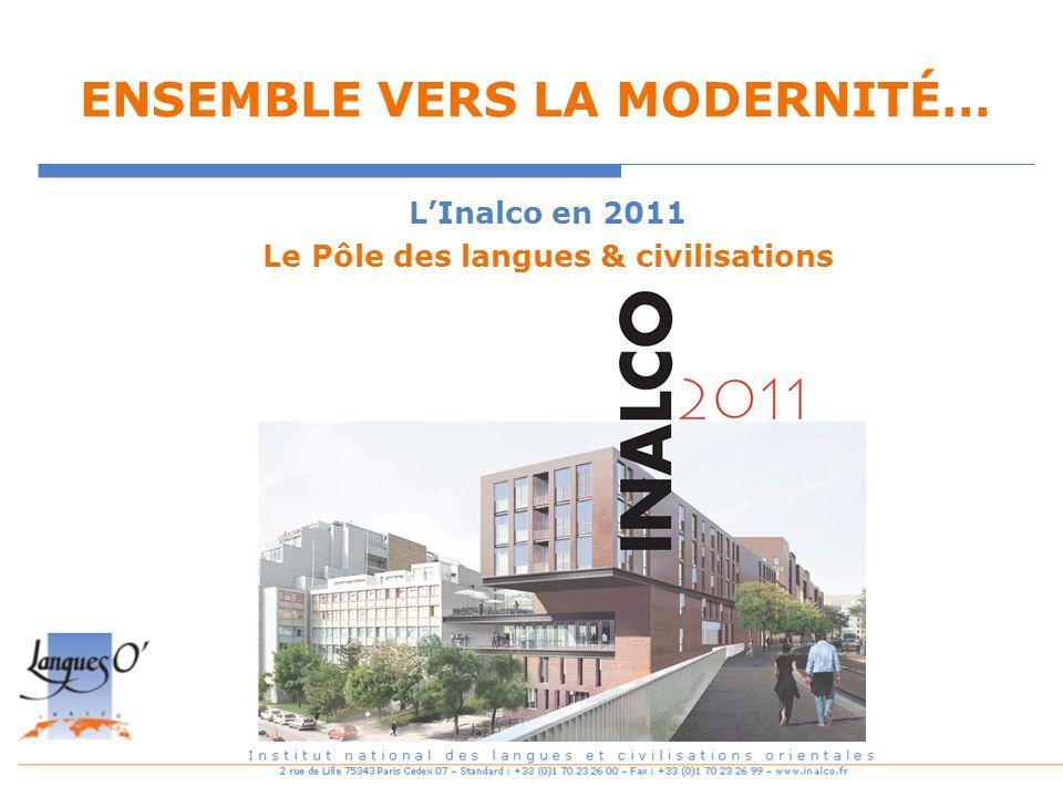 ENSEMBLE VERS LA MODERNITÉ… LInalco en 2011 Le Pôle des langues & civilisations