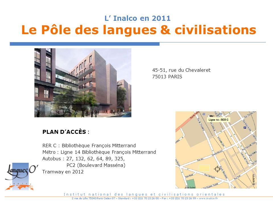 L Inalco en 2011 Le Pôle des langues & civilisations 45-51, rue du Chevaleret 75013 PARIS PLAN DACCÈS : RER C : Bibliothèque François Mitterrand Métro