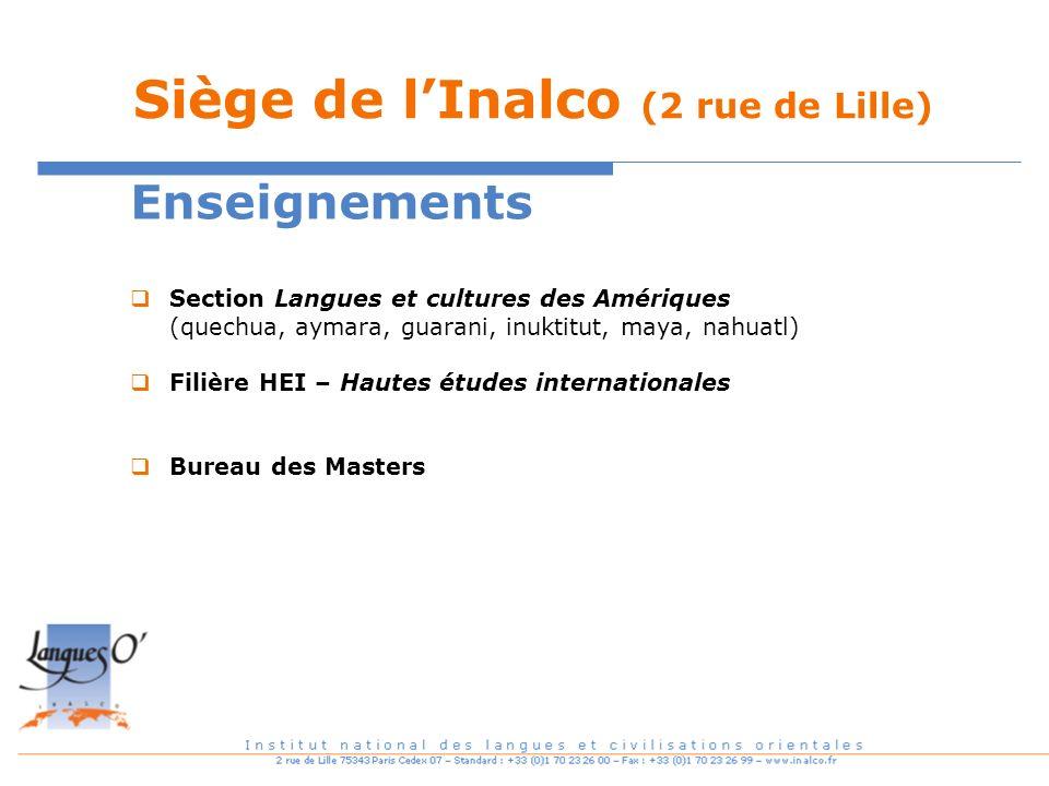 Siège de lInalco (2 rue de Lille) Enseignements Section Langues et cultures des Amériques (quechua, aymara, guarani, inuktitut, maya, nahuatl) Filière