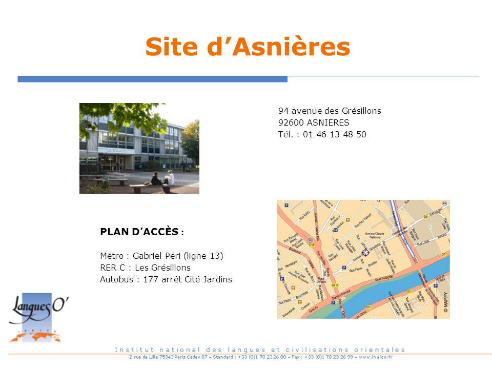 Site dAsnières PLAN DACCÈS : Métro : Gabriel Péri (ligne 13) RER C : Les Grésillons Autobus : 177 arrêt Cité Jardins 94 avenue des Grésillons 92600 AS