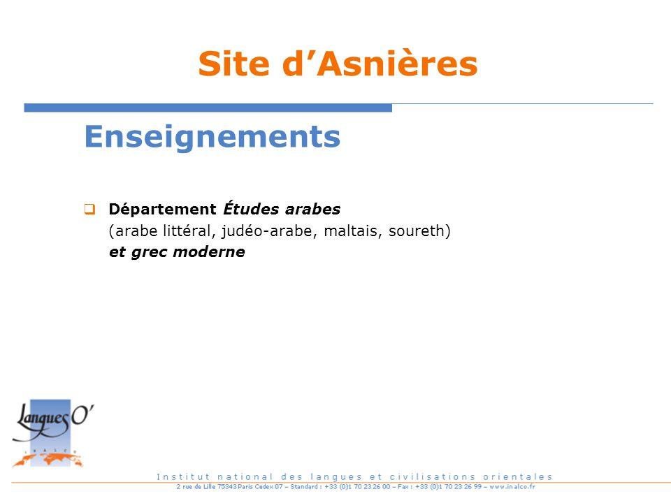 Site dAsnières Enseignements Département Études arabes (arabe littéral, judéo-arabe, maltais, soureth) et grec moderne