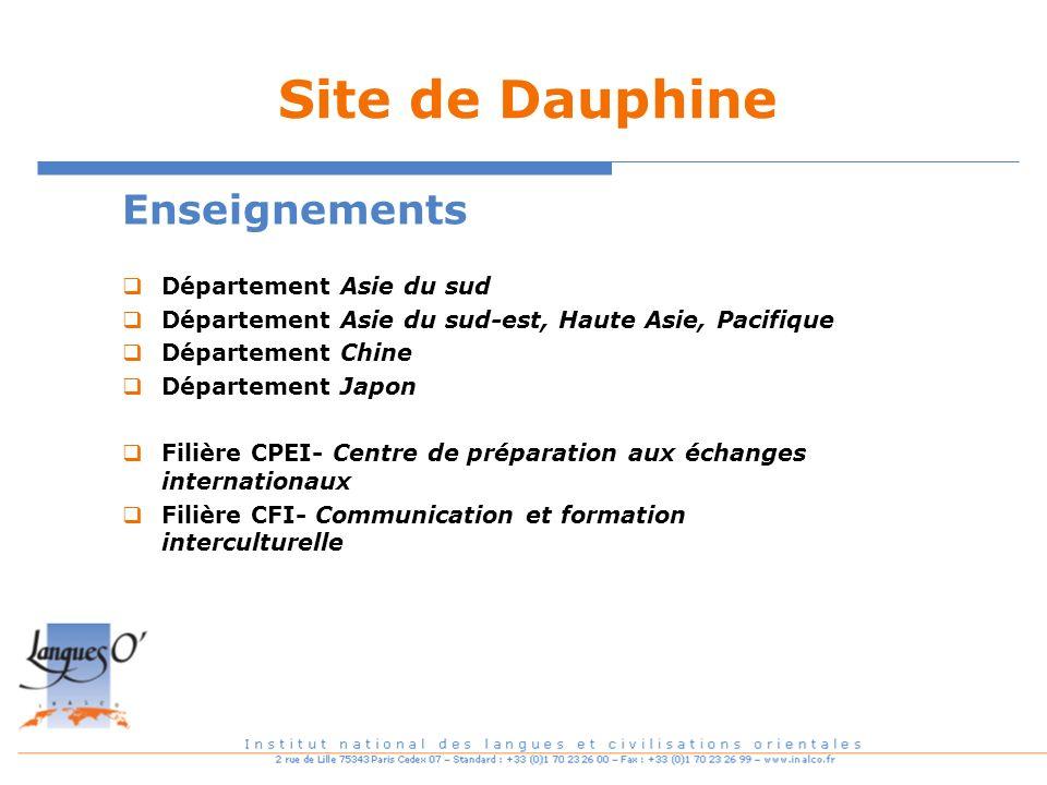 Site de Dauphine Enseignements Département Asie du sud Département Asie du sud-est, Haute Asie, Pacifique Département Chine Département Japon Filière