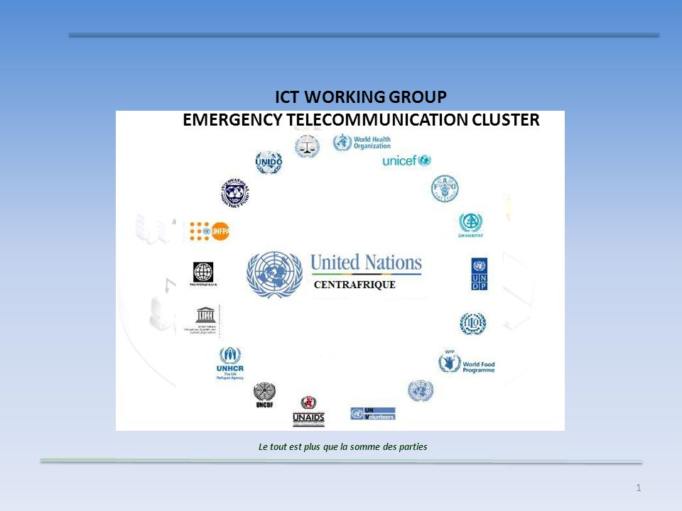 1 ICT WORKING GROUP EMERGENCY TELECOMMUNICATION CLUSTER Le tout est plus que la somme des parties