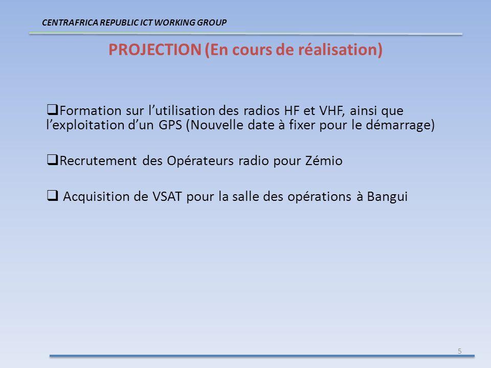 5 PROJECTION (En cours de réalisation) CENTRAFRICA REPUBLIC ICT WORKING GROUP Formation sur lutilisation des radios HF et VHF, ainsi que lexploitation dun GPS (Nouvelle date à fixer pour le démarrage) Recrutement des Opérateurs radio pour Zémio Acquisition de VSAT pour la salle des opérations à Bangui