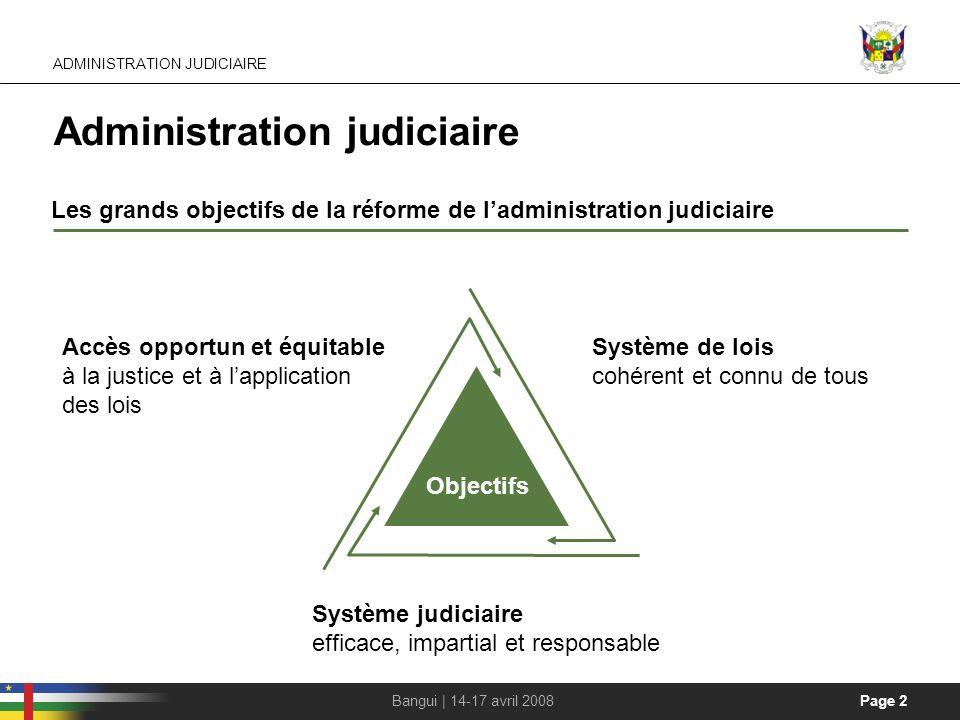 Page 2Bangui | 14-17 avril 2008 Administration judiciaire Les grands objectifs de la réforme de ladministration judiciaire Objectifs Système judiciair