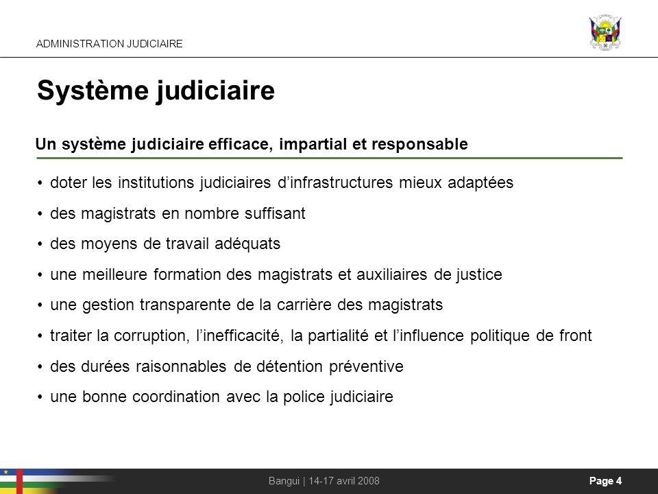 Page 4Bangui | 14-17 avril 2008 Système judiciaire Un système judiciaire efficace, impartial et responsable doter les institutions judiciaires dinfras