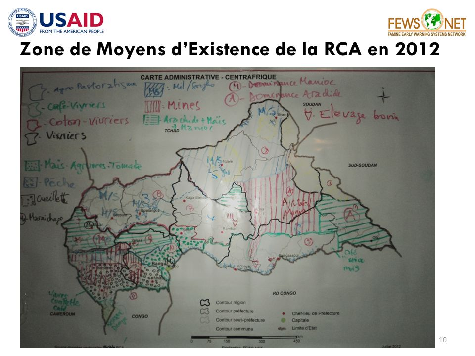 Zone de Moyens dExistence de la RCA en 2012 10 __________________________________________ FAMINE EARLY WARNING SYSTEMS NETWORK
