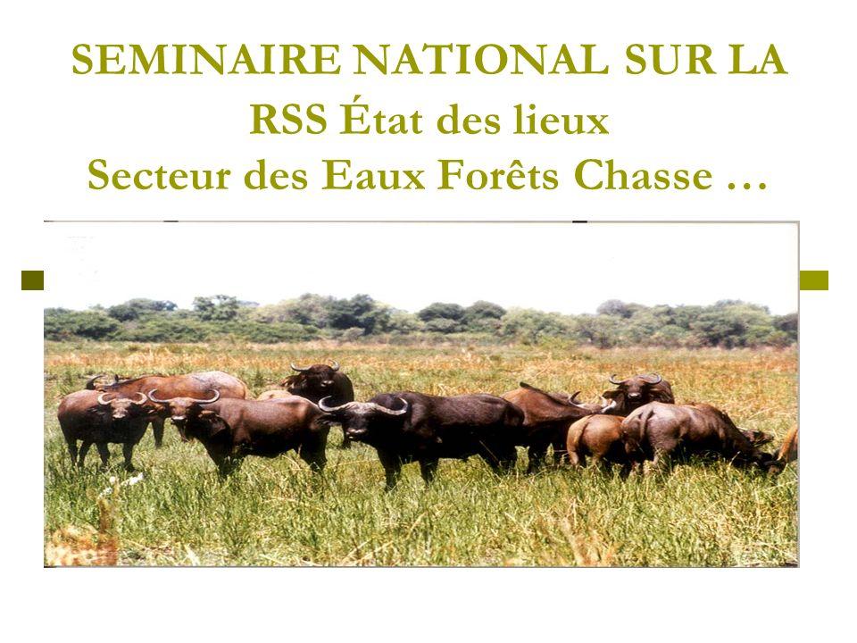 SEMINAIRE NATIONAL SUR LA RSS État des lieux Secteur des Eaux Forêts Chasse …