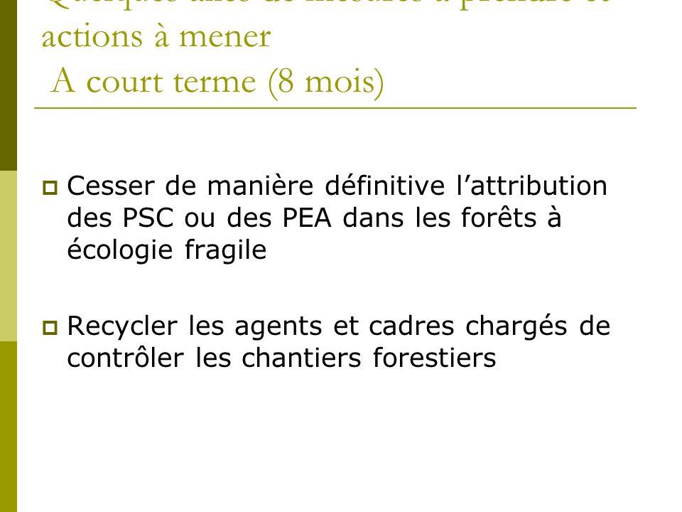 Quelques axes de mesures à prendre et actions à mener A court terme (8 mois) Cesser de manière définitive lattribution des PSC ou des PEA dans les forêts à écologie fragile Recycler les agents et cadres chargés de contrôler les chantiers forestiers