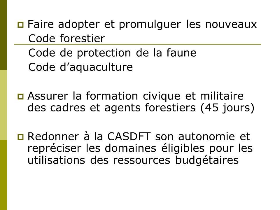 Faire adopter et promulguer les nouveaux Code forestier Code de protection de la faune Code daquaculture Assurer la formation civique et militaire des cadres et agents forestiers (45 jours) Redonner à la CASDFT son autonomie et repréciser les domaines éligibles pour les utilisations des ressources budgétaires