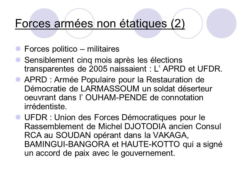 Forces armées non étatiques (2) Forces politico – militaires Sensiblement cinq mois après les élections transparentes de 2005 naissaient : L APRD et U
