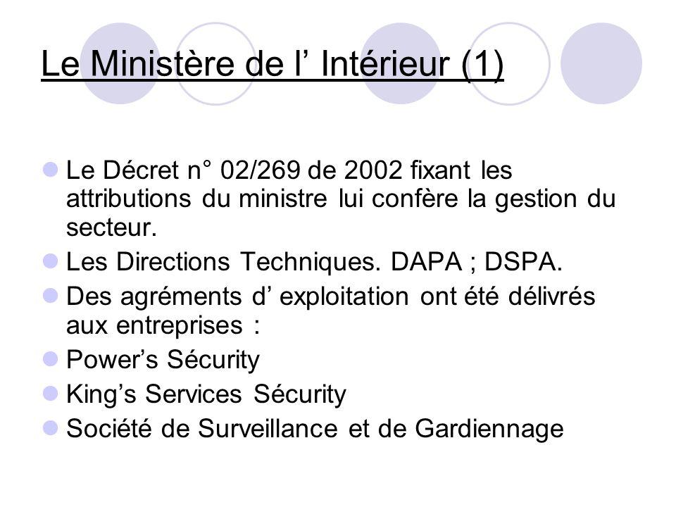 Le Ministère de l Intérieur (1) Le Décret n° 02/269 de 2002 fixant les attributions du ministre lui confère la gestion du secteur. Les Directions Tech