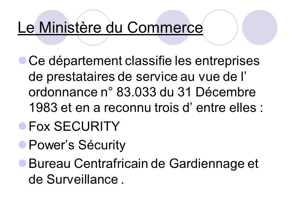 Le Ministère du Commerce Ce département classifie les entreprises de prestataires de service au vue de l ordonnance n° 83.033 du 31 Décembre 1983 et e