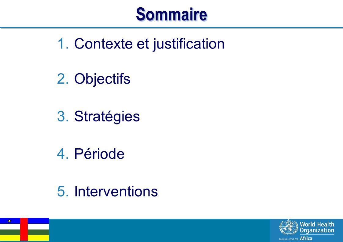 EPI Managers Meeting, Libreville, Gabon, 2-3 March 2011 2 | SommaireSommaire 1.Contexte et justification 2.Objectifs 3.Stratégies 4.Période 5.Interven