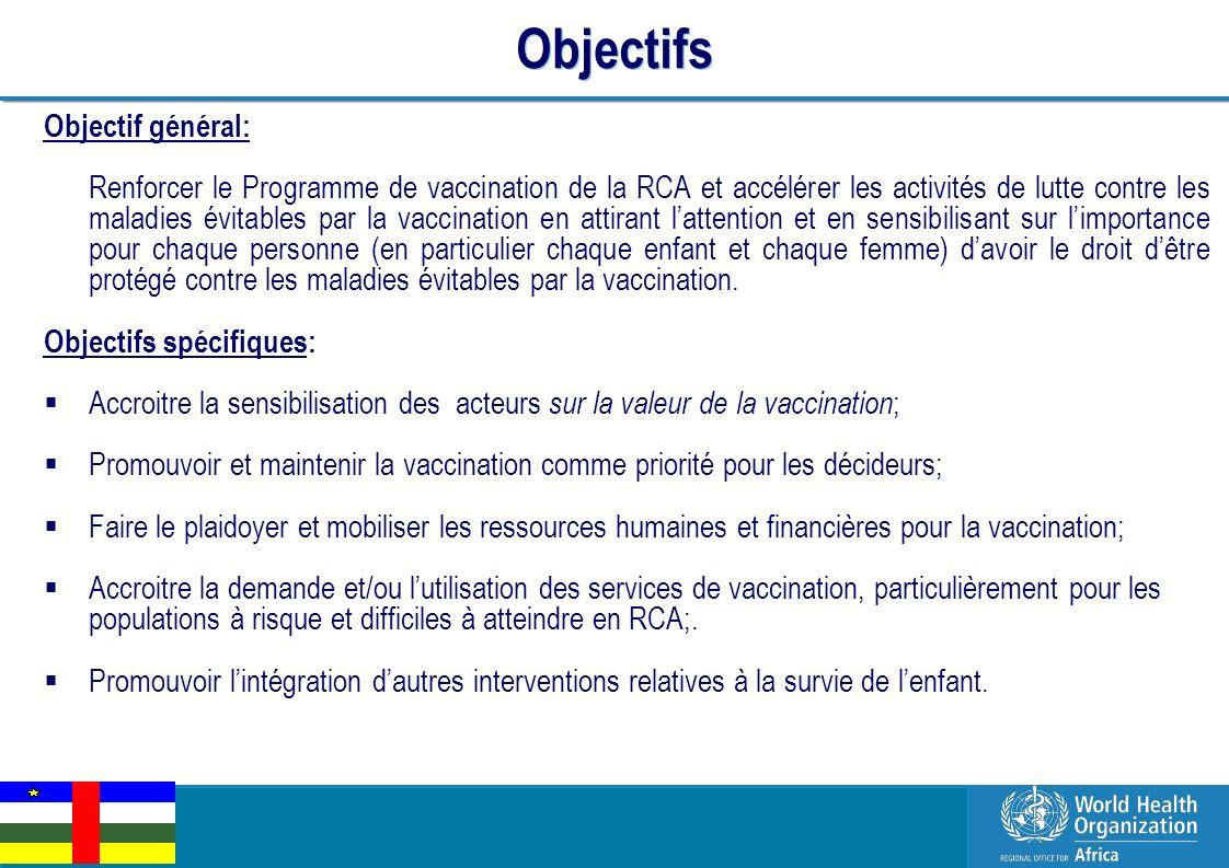 EPI Managers Meeting, Libreville, Gabon, 2-3 March 2011 5 | Objectifs Objectif général: Renforcer le Programme de vaccination de la RCA et accélérer l