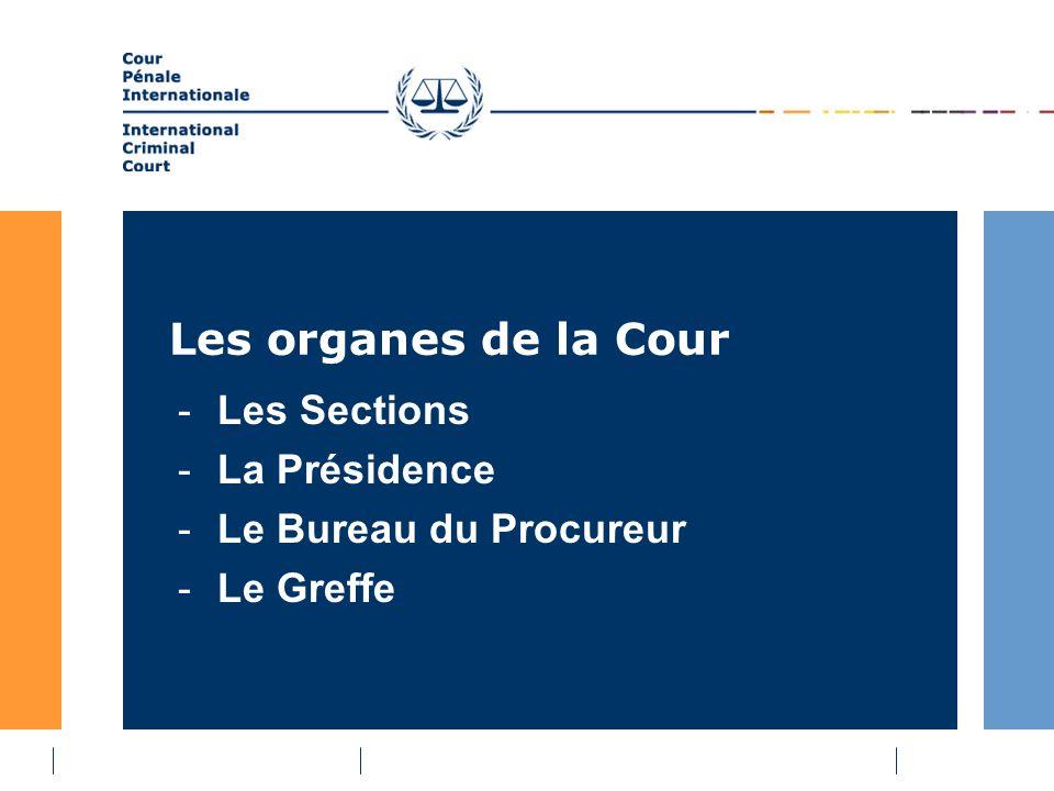 Les organes de la Cour -Les Sections -La Présidence -Le Bureau du Procureur -Le Greffe