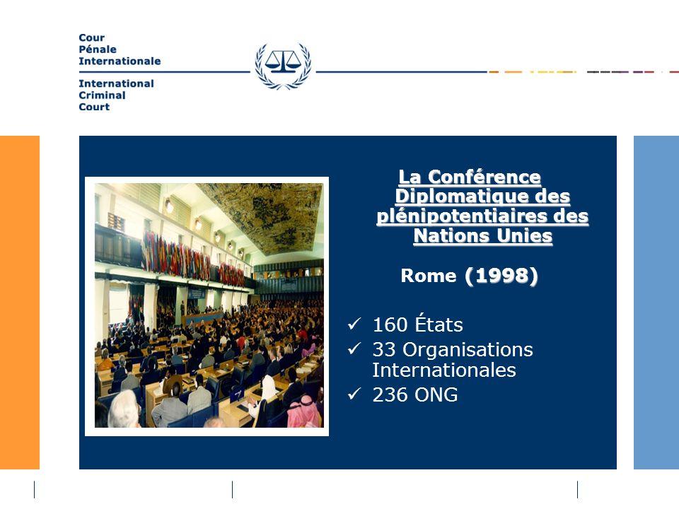 La Conférence Diplomatique des plénipotentiaires des Nations Unies (1998) Rome (1998) 160 États 33 Organisations Internationales 236 ONG