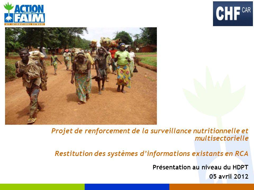 Projet de renforcement de la surveillance nutritionnelle et multisectorielle Restitution des systèmes dinformations existants en RCA Présentation au n