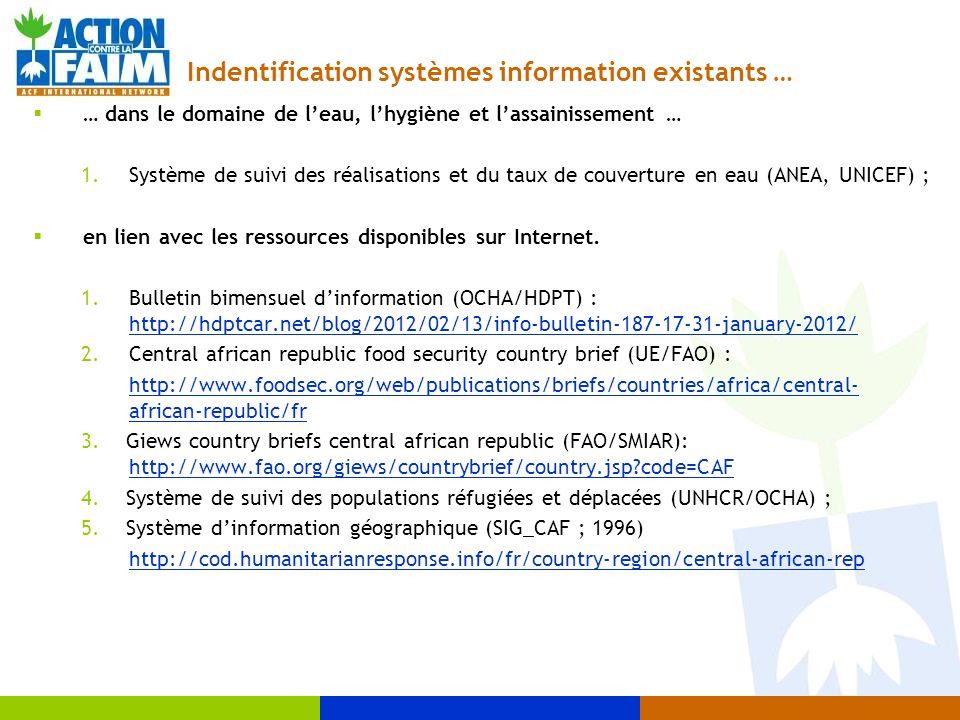 Indentification systèmes information existants … … dans le domaine de leau, lhygiène et lassainissement … 1.Système de suivi des réalisations et du ta
