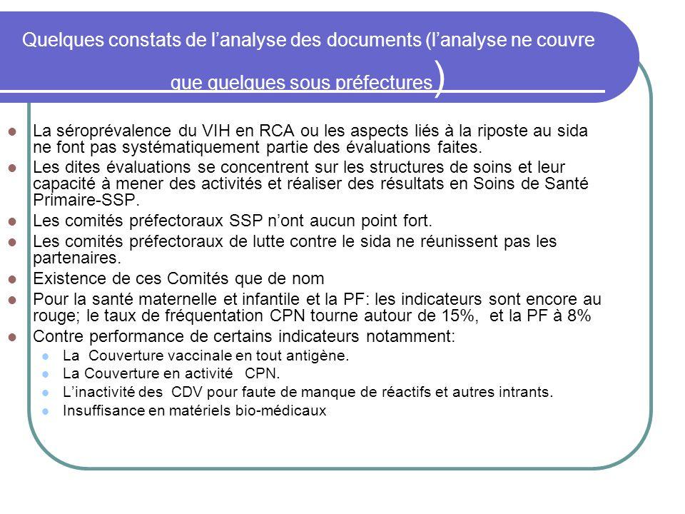 Quelques constats de lanalyse des documents (lanalyse ne couvre que quelques sous préfectures ) La séroprévalence du VIH en RCA ou les aspects liés à