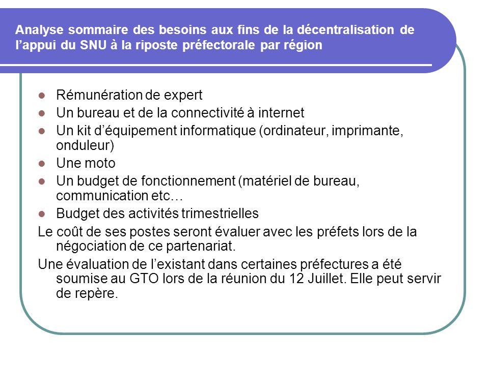 Analyse sommaire des besoins aux fins de la décentralisation de lappui du SNU à la riposte préfectorale par région Rémunération de expert Un bureau et