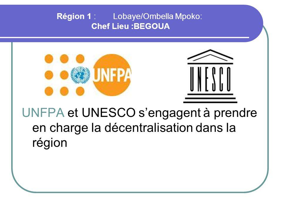 Région 1 :Lobaye/Ombella Mpoko: Chef Lieu :BEGOUA UNFPA et UNESCO sengagent à prendre en charge la décentralisation dans la région